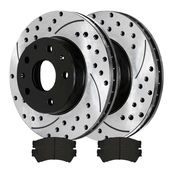 Front Performance Ceramic Brake Pad and Performance Drilled and Slotted Rotor Bundle - Part # PERF641441164