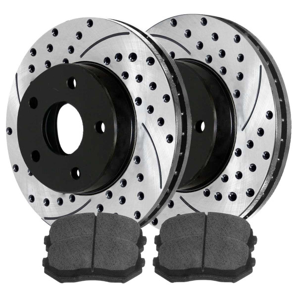 Front Performance Ceramic Brake Pad and Performance Drilled and Slotted Rotor Bundle - Part # PERF641561258