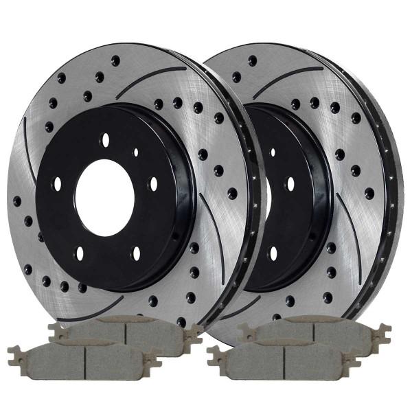 Front Performance Ceramic Brake Pad and Performance Rotor Bundle 12.80 Inch Rotor Diameter - Part # PERF641681376