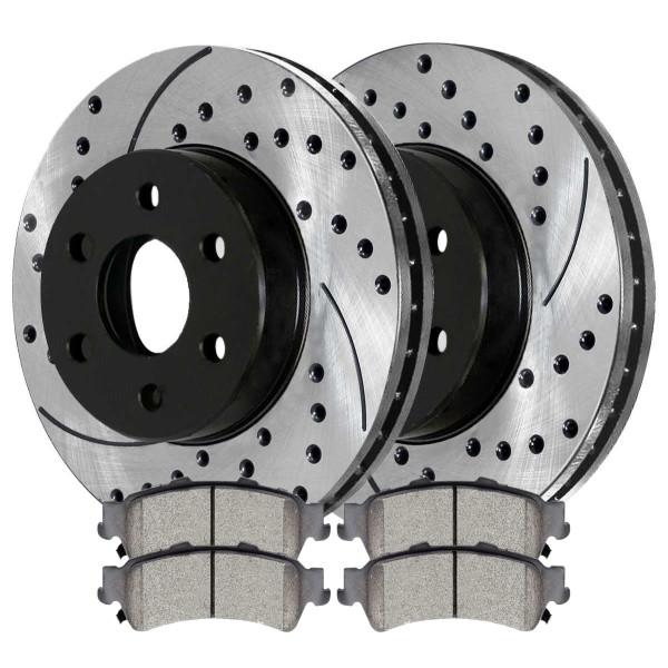 [Rear Set] 2 Drilled & Slotted Performance Brake Rotors & 1 Set Ceramic Brake Pads - Part # PERF65068792