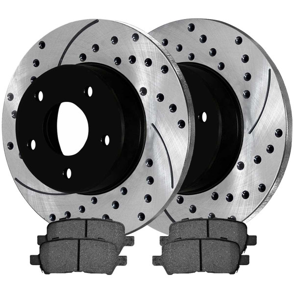 Rear Performance Ceramic Brake Pad and Performance Drilled and Slotted Rotor Bundle - Part # PERF65087999