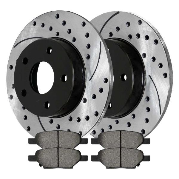 Rear Kit Performance Drilled Slotted Brake Rotors & Ceramic Pads - Part # PERF650961033