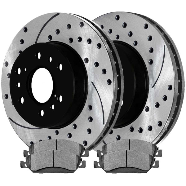Front Performance Ceramic Brake Pad and Performance Drilled and Slotted Rotor Bundle - Part # PERF650991092