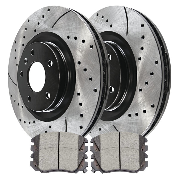 Front Performance Ceramic Brake Pad and Performance Drilled and Slotted Rotor Bundle - Part # PERF651761421