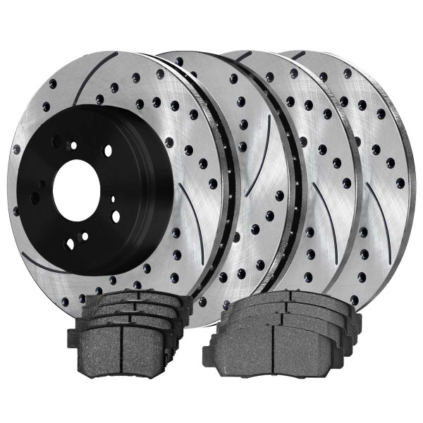Front and Rear Performance Brake Pad and Performance Drilled and Slotted Rotor Bundle 11.8 Inch Rotor Diameter - Part # PERFQUAD0024