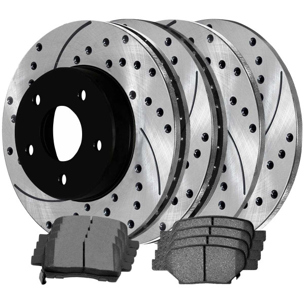 Front and Rear Performance Brake Pad and Performance Drilled and Slotted Rotor Bundle 11.65 Inch Rotor Diameter - Part # PERFQUAD0110