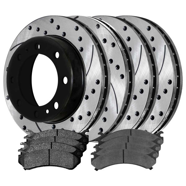 Front and Rear Performance Brake Pad and Performance Drilled and Slotted Rotor Bundle - Part # PERFQUAD0118