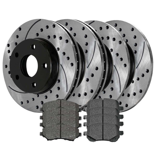 Front and Rear Performance Brake Pad and Performance Drilled and Slotted Rotor Bundle 11.89 Inch Front 12 Inch Rear Rotor Diameter - Part # PERFQUAD0133