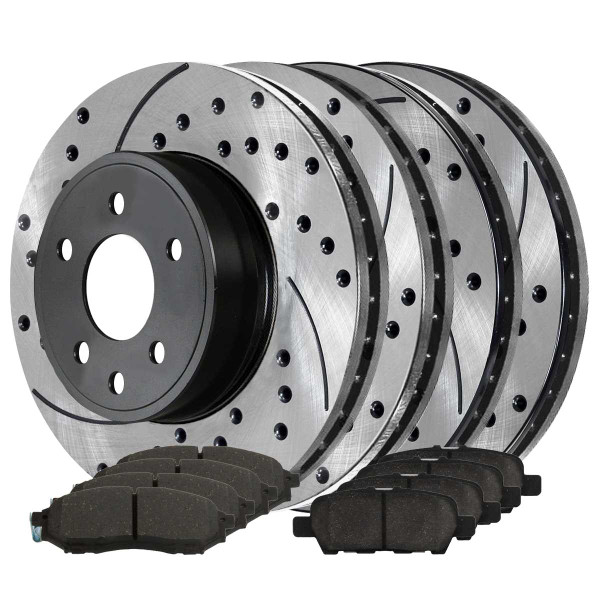 Front and Rear Performance Brake Pad and Performance Drilled and Slotted Rotor Bundle - Part # PERFQUAD0252