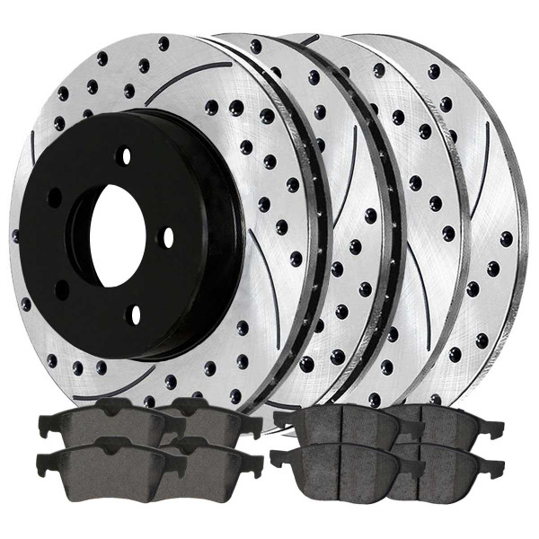 Front and Rear Performance Brake Pad and Performance Drilled and Slotted Rotor Bundle - Part # PERFQUAD0346