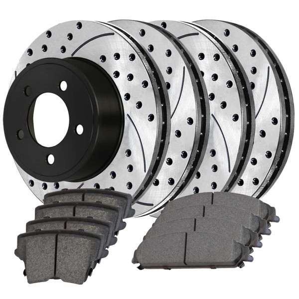 Front and Rear Performance Brake Pad and Performance Drilled and Slotted Rotor Bundle Vented Rotors 12.60 Inch Rear Rotor Diameter - Part # PERFQUAD0628