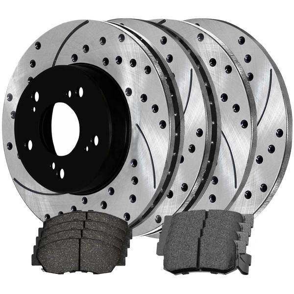Front and Rear Performance Brake Pad and Performance Drilled and Slotted Rotor Bundle - Part # PERFQUAD661