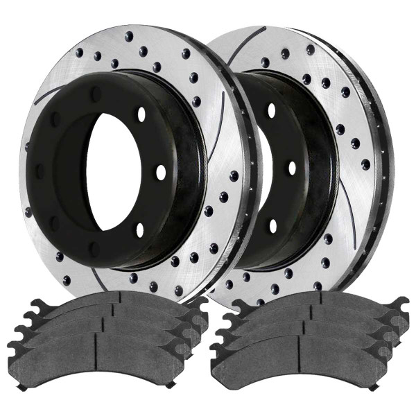 Front and Rear Performance Brake Pad and Performance Drilled and Slotted Rotor Bundle 330mm By 86.86mm Rear Rotors with 4.63 Inch Center Hole - Part # PERFQUAD765