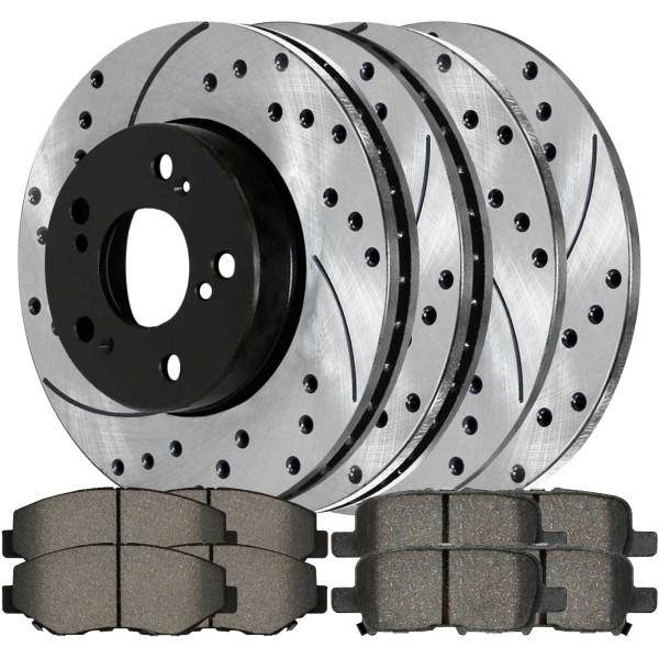 [Front & Rear Set] 4 Drilled & Slotted Performance Brake Rotors & 2 Sets Ceramic Brake Pads - Part # PERFQUAD806