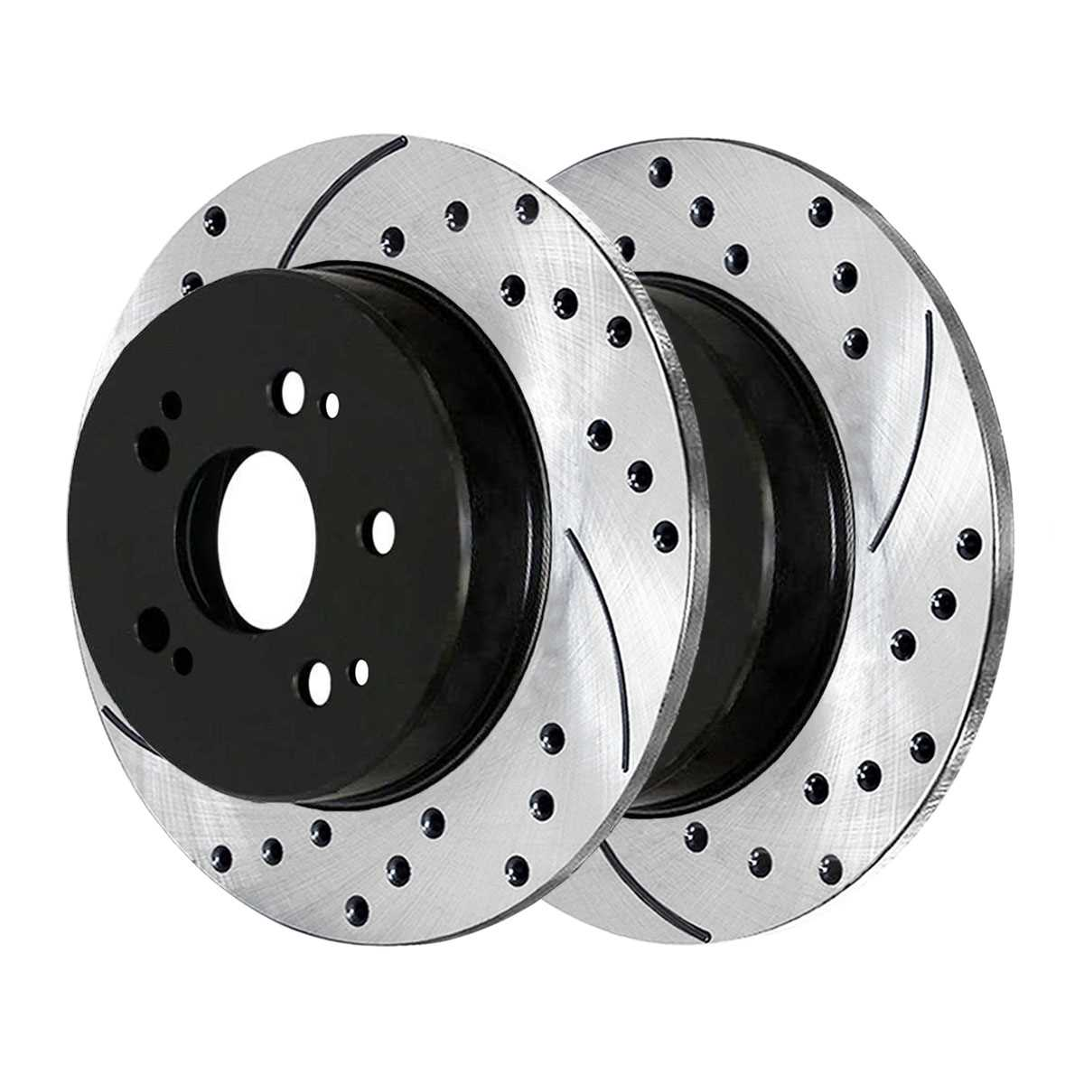 AutoShack PR44175LR Front Drilled and Slotted Brake Rotor Pair 2 Pieces Fits Driver and Passenger Side