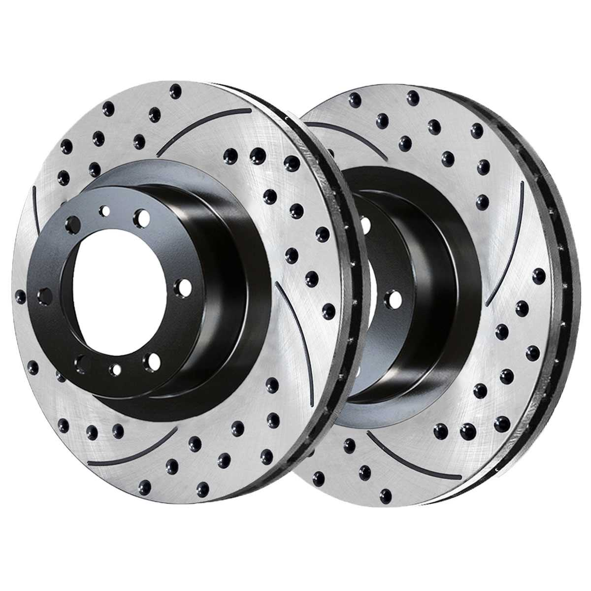 AutoShack PR41429LR Front Drilled and Slotted Brake Rotor Pair 2 Pieces Fits Driver and Passenger Side