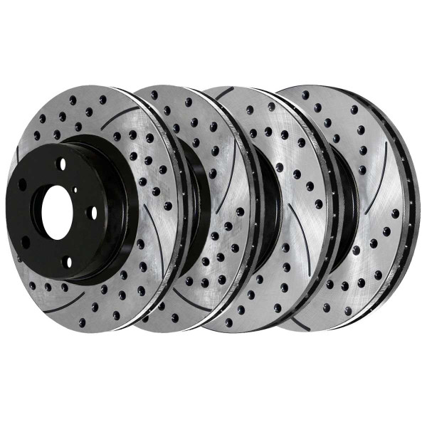 Front and Rear Performance Drilled and Slotted Brake Rotor Bundle - Part # PR41377PR41389