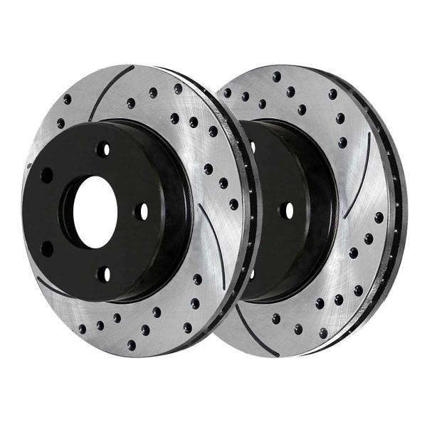 Front Drilled Slotted Disc Brake Rotors Black Set of 2, Driver and Passenger Side - Part # PR63053LR