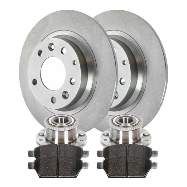 [Rear Set] 2 Brake Rotors & 1 Set Ceramic Brake Pads & 2 Wheel Hub Bearing Assemblies - Part # RHBBK0030