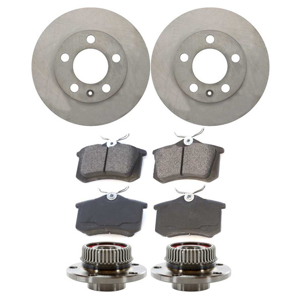 [Rear Set] 2 Brake Rotors & 1 Set Ceramic Brake Pads & 2 Wheel Hub Bearing Assemblies - Part # RHBBK0077