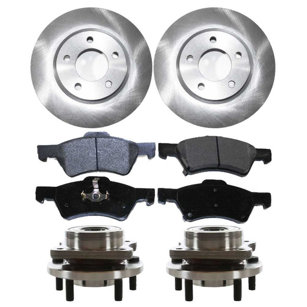 [Front Set] 2 Brake Rotors & 1 Set Ceramic Brake Pads & 2 Wheel Hub Bearing Assemblies - Part # RHBBK0094
