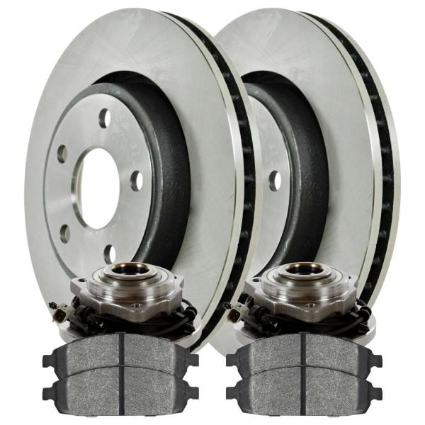 [Front Set] 2 Brake Rotors & 1 Set Ceramic Brake Pads & 2 Wheel Hub Bearing Assemblies - Part # RHBBK0104