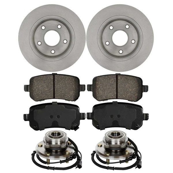 Set of New Rear Brake Rotors Ceramic Pads and Hub Bearing Assemblies - Part # RHBBK0110