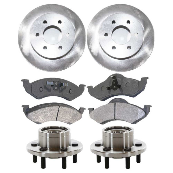 [Front Set] 2 Brake Rotors & 1 Set Ceramic Brake Pads & 2 Wheel Hub Bearing Assemblies - Part # RHBBK0132