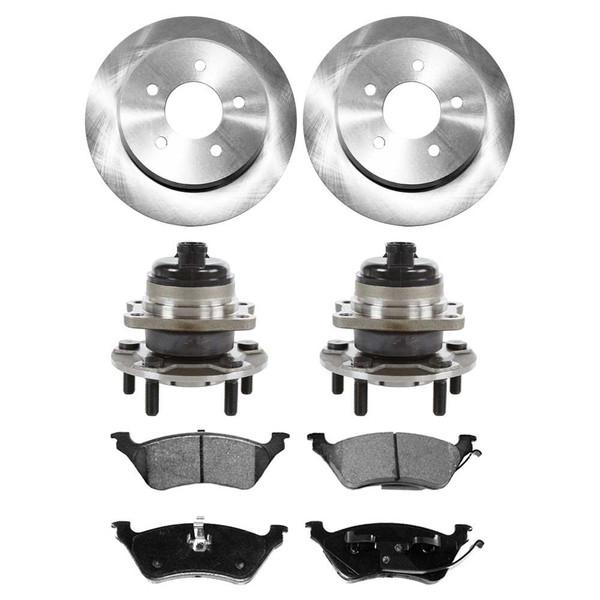 [Rear Set] 2 Brake Rotors & 1 Set Ceramic Brake Pads & 2 Wheel Hub Bearing Assemblies - Part # RHBBK0139