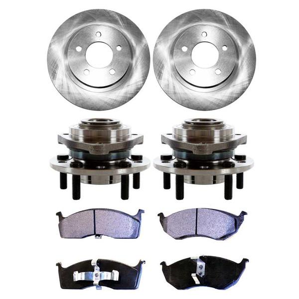[Front Set] 2 Brake Rotors & 1 Set Ceramic Brake Pads & 2 Wheel Hub Bearing Assemblies - Part # RHBBK0141