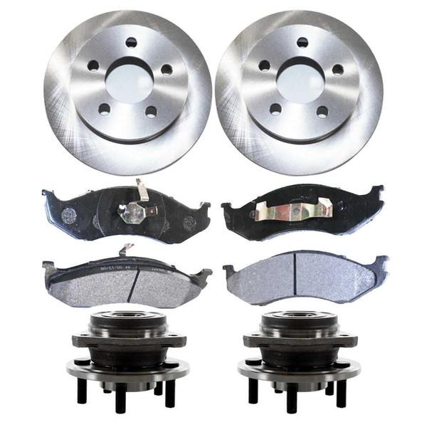 Set of New Front Brake Rotors Ceramic Pads and Hub Bearing Assemblies - Part # RHBBK0147