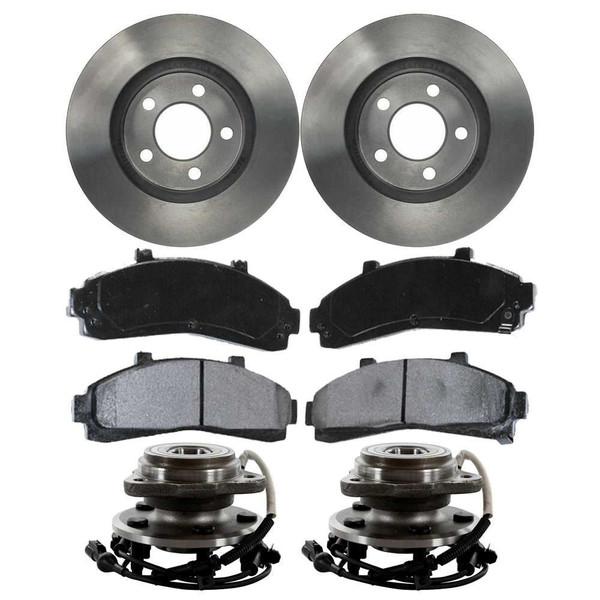 [Front Set] 2 Brake Rotors & 1 Set Ceramic Brake Pads & 2 Wheel Hub Bearing Assemblies - Part # RHBBK0158
