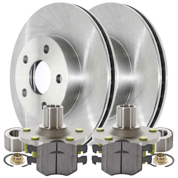 [Front Set] 2 Brake Rotors & 1 Set Ceramic Brake Pads & 2 Wheel Hub Bearing Assemblies - Part # RHBBK0163