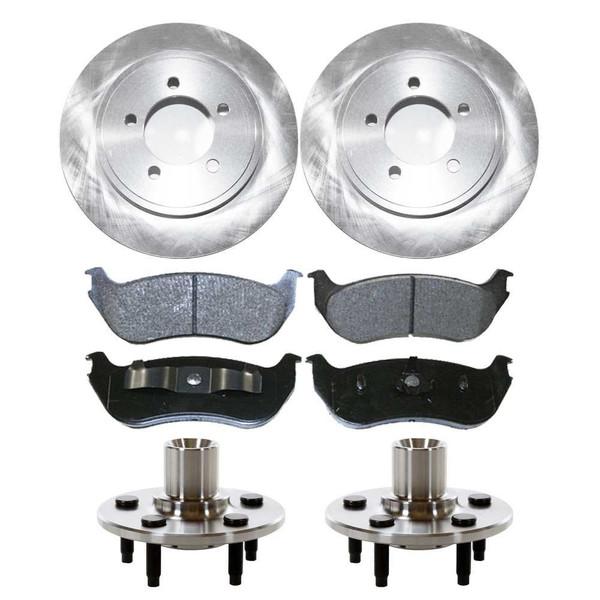 Set of New Rear Brake Rotors Ceramic Pads and Hub Bearing Assemblies - Part # RHBBK0165