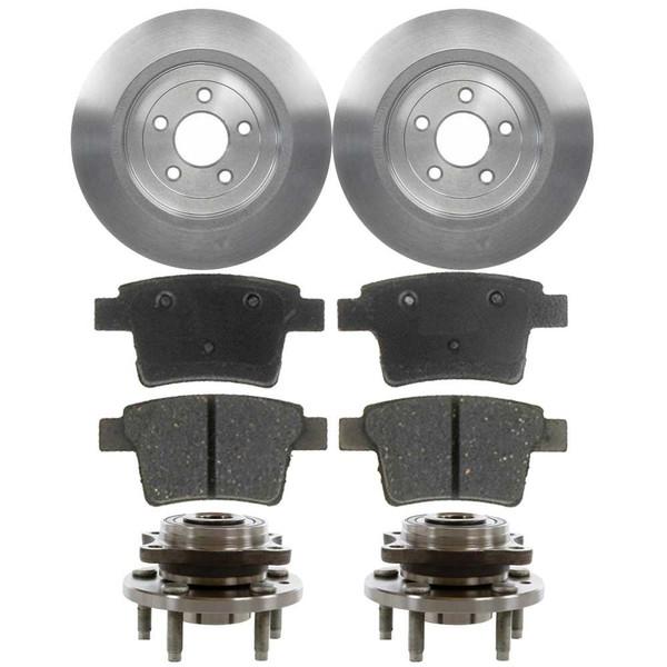 [Rear Set] 2 Brake Rotors & 1 Set Ceramic Brake Pads & 2 Wheel Hub Bearing Assemblies - Part # RHBBK0171