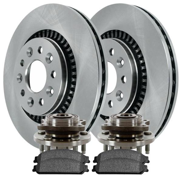 [Front Set] 2 Brake Rotors & 1 Set Ceramic Brake Pads & 2 Wheel Hub Bearing Assemblies - Part # RHBBK0174