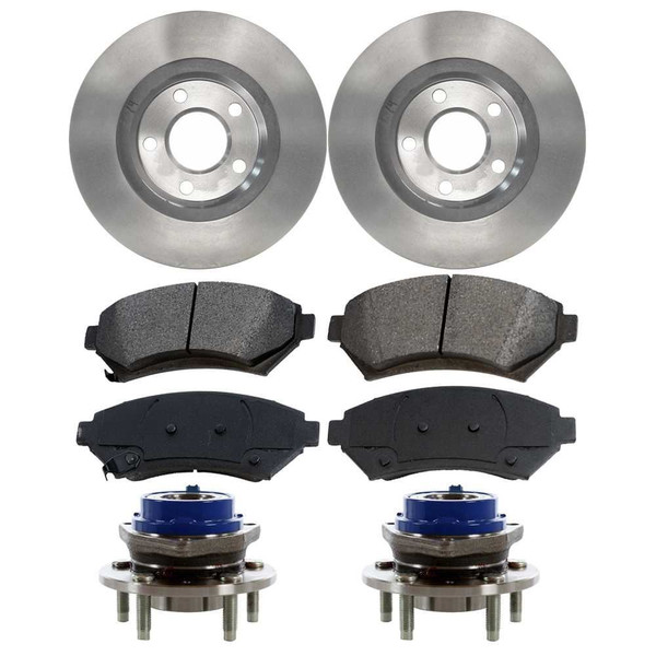 [Front Set] 2 Brake Rotors & 1 Set Ceramic Brake Pads & 2 Wheel Hub Bearing Assemblies - Part # RHBBK0185