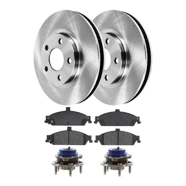 [Front Set] 2 Brake Rotors & 1 Set Ceramic Brake Pads & 2 Wheel Hub Bearing Assemblies - Part # RHBBK0196