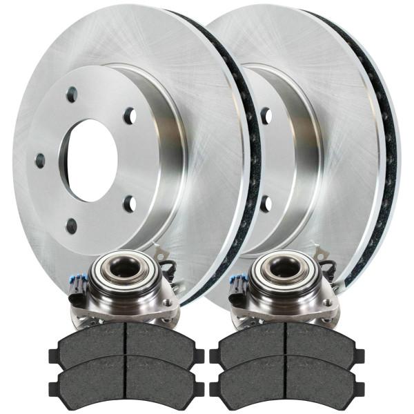 Set of New Front Brake Rotors Ceramic Pads and Hub Bearing Assemblies - Part # RHBBK0200