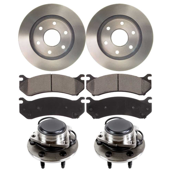 [Front Kit] 2 New Brake Rotors & 2 Hub Bearing Assemblies W/ 4 Ceramic Pads - Part # RHBBK0207