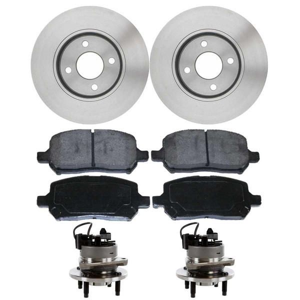 [Front Set] 2 Brake Rotors & 1 Set Ceramic Brake Pads & 2 Wheel Hub Bearing Assemblies - Part # RHBBK0223