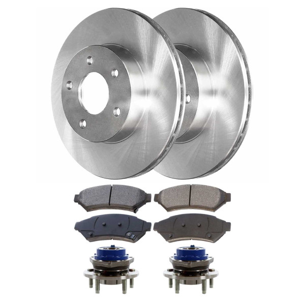 [Front Set] 2 Brake Rotors & 1 Set Ceramic Brake Pads & 2 Wheel Hub Bearing Assemblies - Part # RHBBK0226