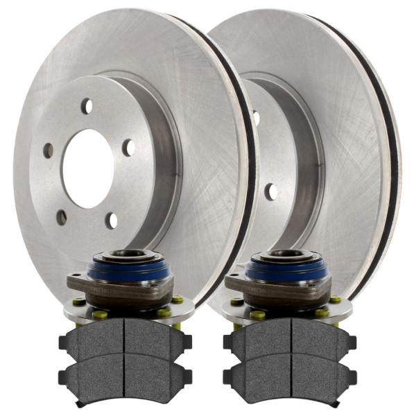 [Front Set] 2 Brake Rotors & 1 Set Ceramic Brake Pads & 2 Wheel Hub Bearing Assemblies - Part # RHBBK0228