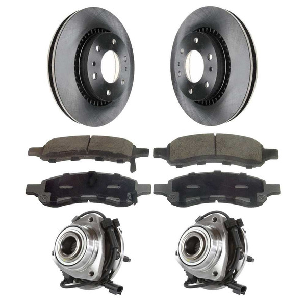 [Front Set] 2 Brake Rotors & 1 Set Ceramic Brake Pads & 2 Wheel Hub Bearing Assemblies - Part # RHBBK0241