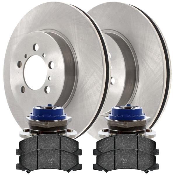 [Front Set] 2 Brake Rotors & 1 Set Ceramic Brake Pads & 2 Wheel Hub Bearing Assemblies - Part # RHBBK0249
