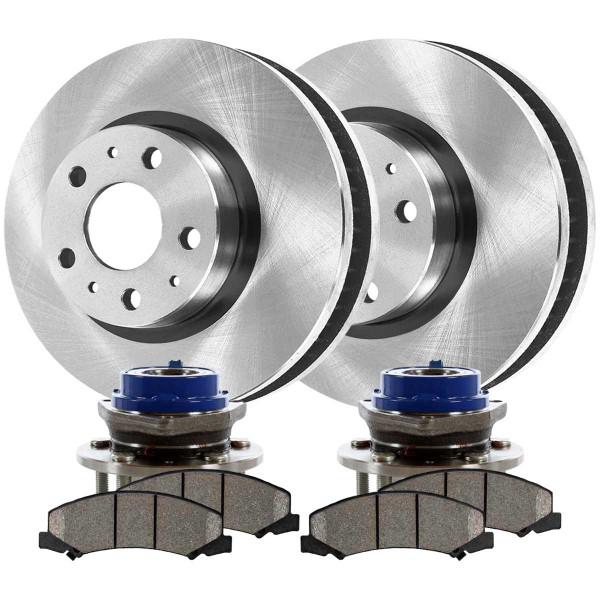 [Front Set] 2 Brake Rotors & 1 Set Ceramic Brake Pads & 2 Wheel Hub Bearing Assemblies - Part # RHBBK0250