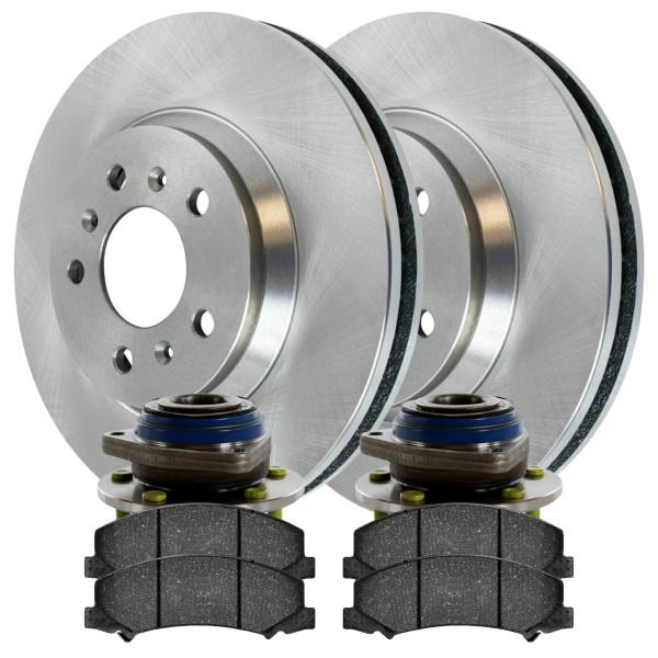 [Front Set] 2 Brake Rotors & 1 Set Ceramic Brake Pads & 2 Wheel Hub Bearing Assemblies - Part # RHBBK0251
