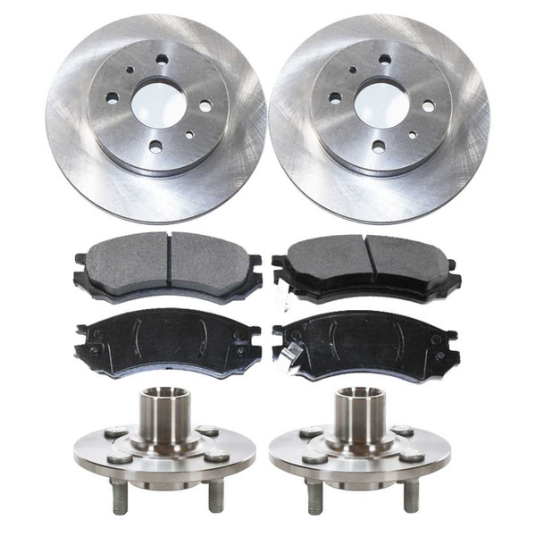 [Front Set] 2 Brake Rotors & 1 Set Ceramic Brake Pads & 2 Wheel Hub Bearing Assemblies - Part # RHBBK0267