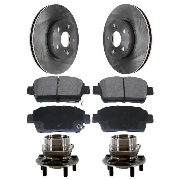 [Front Set] 2 Brake Rotors & 1 Set Ceramic Brake Pads & 2 Wheel Hub Bearing Assemblies - Part # RHBBK0308