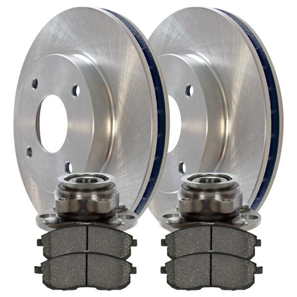 [Front Set] 2 Brake Rotors & 1 Set Ceramic Brake Pads & 2 Wheel Hub Bearing Assemblies - Part # RHBBK0333